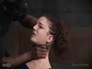 Flexible bondage slut put through her paces in rough live